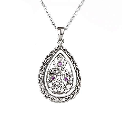 Trinity Thistle - Keltische Outlander Kette - schottische Distel aus Silber & Kristall