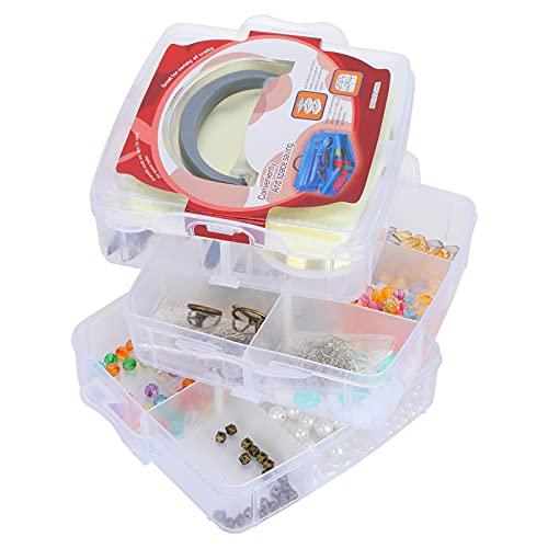 Kit de suministros para fabricación de joyas, herramientas de abalorios hechas a mano, todo en con contenedor de 3 capas para collares, pulseras, aretes