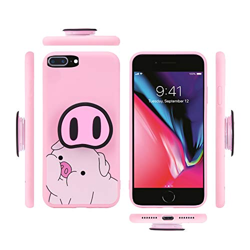 K'liah iPhone 7/8 Case - Cute Pig Nose Pop Socket Cell Phone Cases for iPhone8 & iPhone7-3D Pig Pattern Stand Case Back Cover with Pop Up Holder (Pink, iPhone 7 & 8)