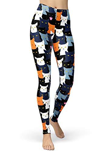 sissycos Cartoon Leggings Damen Print Tier Libelle Kaninchen Eule Katzen Leggings Design Yoga Laufen Hosen Mädchen Strumpfhosen Mode Stretch L-XXL Frauen Leggings Katze