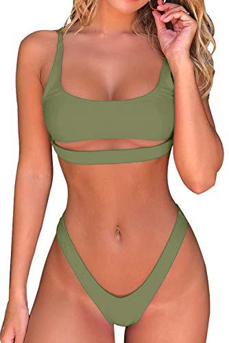 Byoauo Sexy Bikini-Bikini, U-Ausschnitt, bauchfreies Oberteil mit frecher Unterteil, zweiteiliger Badeanzug - Grün - X-Large