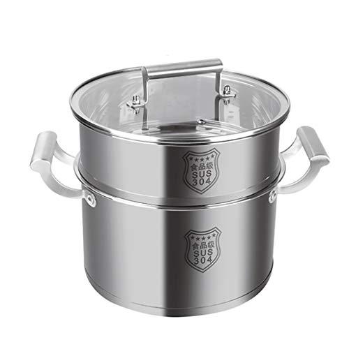 304 Vapor Del Acero Inoxidable/Sopa De Olla, Hogar Espesado Doble Fondo Vapor, 20-30cm, Conveniente For Cocina De Gas/Cocina De Inducción Ollas (Size : 20cm)