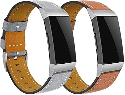 Gransho Correa de Reloj Compatible con Fitbit Charge 4 / Charge 4 SE/Charge 3 SE/Charge 3, Cross Piel Correa/Banda/Pulsera/Reemplazo (Pattern 2+Pattern 3)