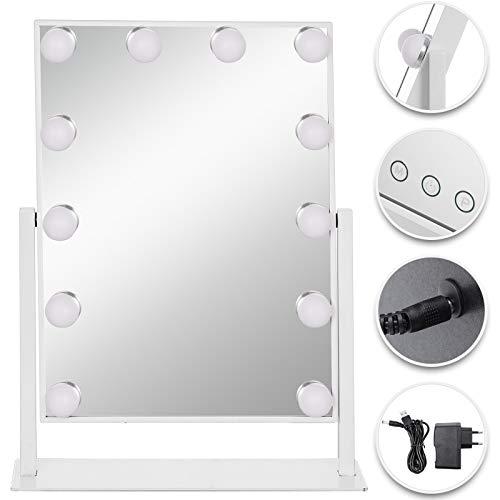 VEVOR Hollywood Spiegel 35,6 x 8,4 x 47,5 cm, Theater Spiegel Hollywood Weiß, Hollywoodspiegel mit 14 Einstellbaren Beleuchtungen, Kosmetikspiegel Dreifarbiges Licht, für Badezimmer Hinter der Bühne