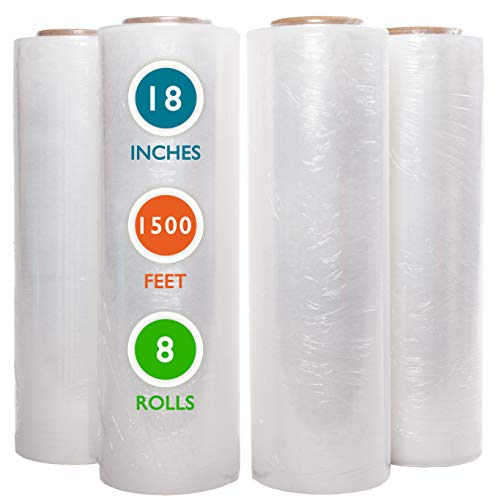 "8 Rolls 18"" x 1500 Ft Stretch Wrap Heavy Duty, Industrial Strength Shrink Wrap, 55 Gauge High Performance Stretch Film Replaces 80 Gauge Low Films, Clear Hand Stretch Wrap"
