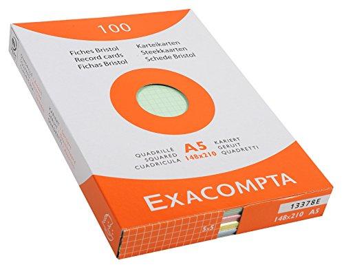 Exacompta 13378E Karteikarten (205q/qm Karton, holzfrei, DIN A5, kariert, ungelocht) 100er Pack gemischte Farben
