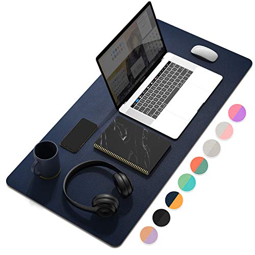 """YSAGi Multifunctional Office Desk Pad, Ultra Thin Waterproof PU Leather Mouse Pad, Dual Use Desk Writing Mat for Office/Home (31.5"""" x 15.7"""", Dark Tyrian Blue+Yellow)"""