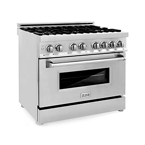 """ZLINE 36"""" 4.6 cu. ft. Dual Fuel Range with Gas Stove and Electric Oven with Color Door Options (RA36) (Stainless Steel)"""