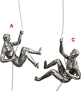 3x Large Antique Silver Climbing Abseiling Trio Hanging Ornaments Figures Set of 3 Climbing Men Wallhanging Figurines Abseiling Ornament Sculpture Wall Art Resin and Metal Bungee Jumping Man