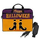 Bolso Bandolera Maletín para Portátil Feliz Halloween Bruja Pies Sombrero Bolsa de Hombro Patrón Maletín Bandolera con Cinturón de Carro