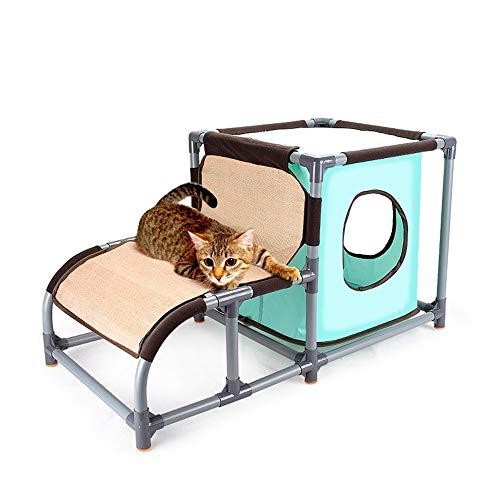 Luyshts Desmontable Combinación Gato Litter Oxford Tela Gato Plataforma De Salto Gato Agujero Tunnel Grinding Claw Creative Cat Escalada Marco