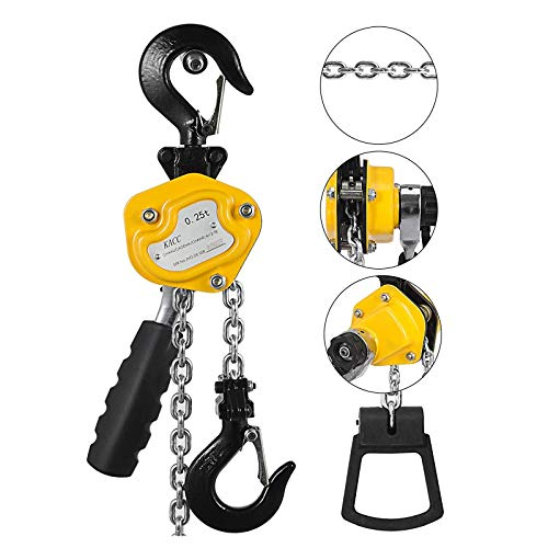 Mophorn 0.25T Lever Block Chain Hoist 4.5M 15Ft Chain Hoist Alloy Steel G80 Chain Ratchet Lever Hoist with Hook