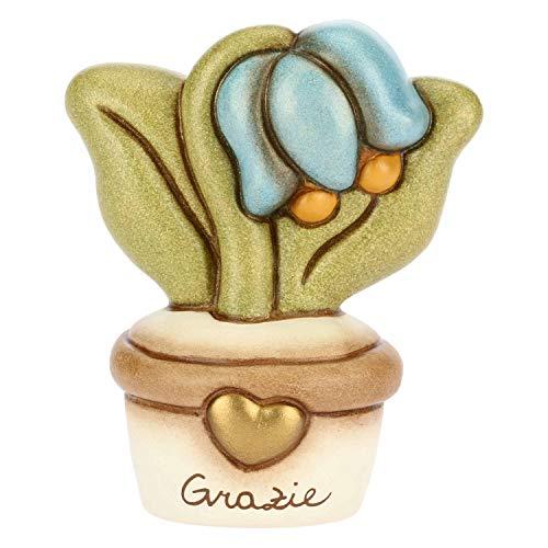 THUN - Vasetto Decorativo con Fiore Campanella - Soprammobile - Bomboniere e Accessori per la Casa - Linea I Classici - Formato Piccolo - Ceramica - Ceramica - h 6,2 cm