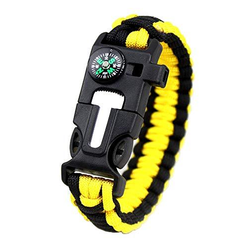 MansWill 5 en 1 pulsera de supervivencia, nuevo 7 Core Paracord de emergencia deportes pulsera Gear Kit impermeable brújula, silbato de rescate, iniciador de fuego multi-herramienta Wilderness aventura accesorios, Hombre, Yellow Black