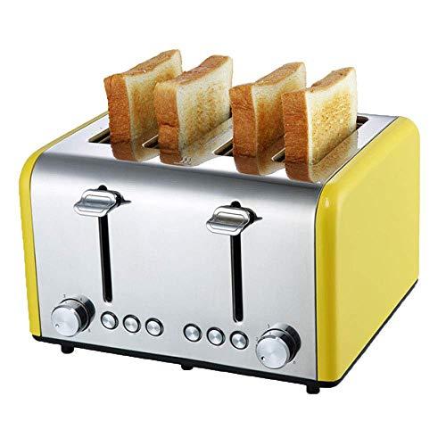 YFGQBCP Tostadora Máquina de Pan multifunción for el hogar, máquina de Desayuno automática de 4 rebanadas con Control de Acero Inoxidable, Herramienta de Cocina, 1200W (Color : Yellow)