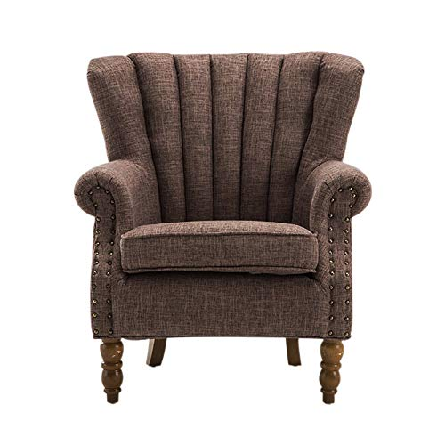 Warmiehomy Armchair Fabric Linen Fabric Accent Upholstered Chair Armchair Wing Back with Solid Wooden Legs Living Room (Brown)