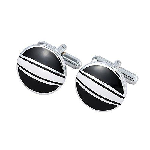 DonDon® Herren Manschettenknöpfe Auge rund Silber-schwarz im Samtbeutel