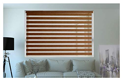 ZEBRA BLINDS Wooden Blinds for Windows or Outdoor Decor of The Home (Brown)