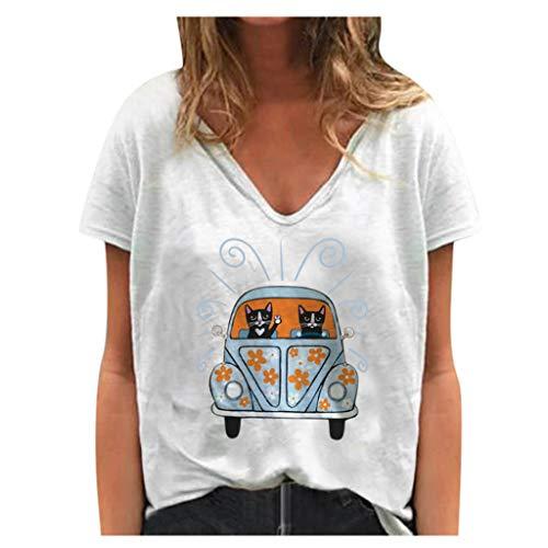 Dasongff Frauen Sommer T-Shirts Bunte Giraffe Print Kurzarm T-Shirt Plus Size Loose Graphic Inspirational Shirt V-Ausschnitt Oberteile Tops Animal Print T Shirt Tunika Bluse