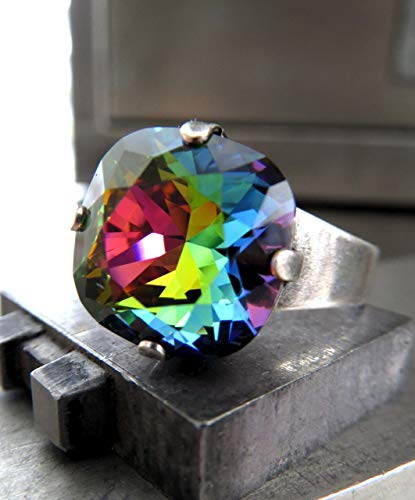 Sparkle Rainbow Ring with Colorful Swarovski Crystal, Adjustable Ring Band