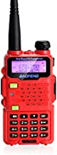 BAOFENG UV-5R5 5-Watt Dual Band Two-Way Radio (144.0-148.0MHz VHF & 420-450MHz UHF) Includes Full Kit with Large Battery (Red)