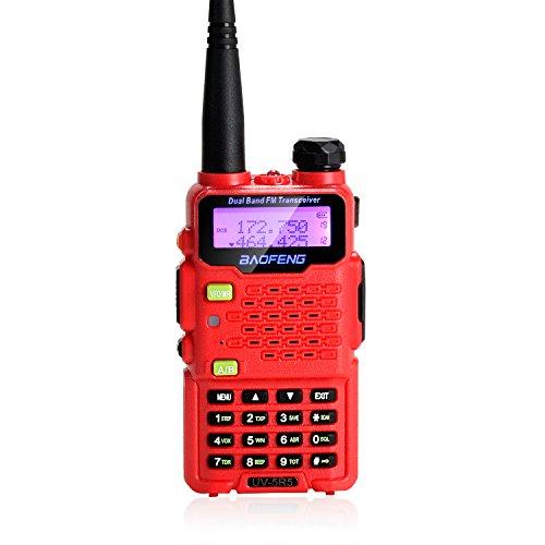 AGPTEK WalkieTalkie BAOFENG UV-5R5 Due Bande UHF/VHF 5W Ricetrasmettitore Radio con Auricolare Dual Band Radio 136-174/400-470MHz[con la Funzione della Torcia elettrica](Rosso*1pz)