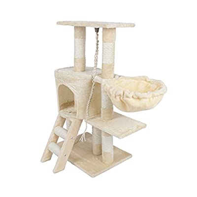 Yosoo Pet Cat Tree, Deluxe Multi Level Cat Tower with Scratch Scratching Climb Post Activity Toys Cat Tree Bed House, 30cm x 55cm x 96cm by Yosoo