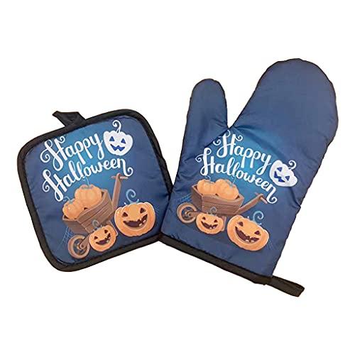 YUZI Juego de manoplas para horno y portavasos de Halloween con impresión de poliéster antideslizante y forro de algodón suave para cocinar a la parrilla
