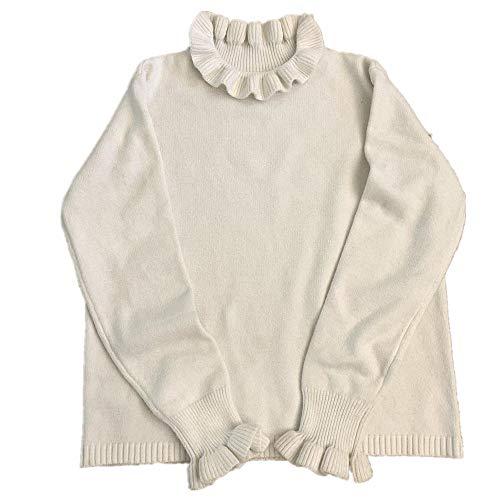 Suéteres de las Mujeres de Volantes de la Universidad Sólido de las Niñas Suéter de todos los partidos Simple Suave de Manga Larga de