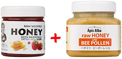 【Amazon.co.jp限定】 はちみつ 蜂蜜 ハチミツ 生 2個組 セット (ラズベリーハニー200g、ビーポーレンハニー390g) Raw Honey Set Raspberry 200g Bee Pollen raw honey 390g