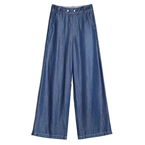 Señoras Verano Denim Suelto Pantalones de Pierna Ancha de Seda de Hielo Recto Pantalones de Cintura Alta Pantalones Casuales Salvajes de Moda de Gran tamaño