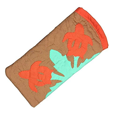 ハワイアンキルト メガネケース ホヌ柄 ブラウン/ Hawaiian quilt 眼鏡 サングラスケース