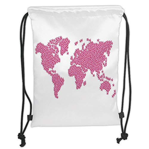 GONIESA Drawstring Sack Backpacks Bags,Floral World Map,Earth Surface Spring Season Flower Garden Motivation Freshness Geography,Hot Pink Soft Satin,5 Liter Capacity,Adjustable String Closure,T