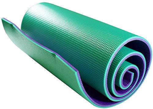 Azorex Esterilla Yoga Espeso Antideslizante Alfombrilla de Yoga Espesor 10mm con Correa de Hombro (Verde+Violeta, Ancho 50cm, Espesor 10mm)