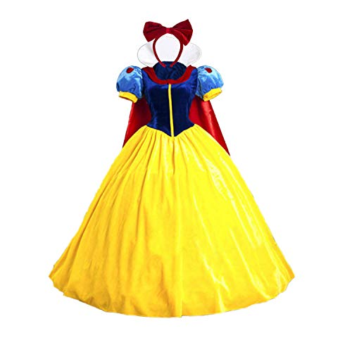 Deluxe Women's Princess Cosplay Dress Snow White Princess Costume Christmas with Headband (No Skirt Support Size M)