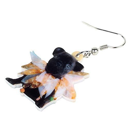 XUBB Acryl Bulldogge Mops Hund Ohrringe Tropfen Kostüme Tierschmuck für Frauen Mädchen Dekorationen Geschenk