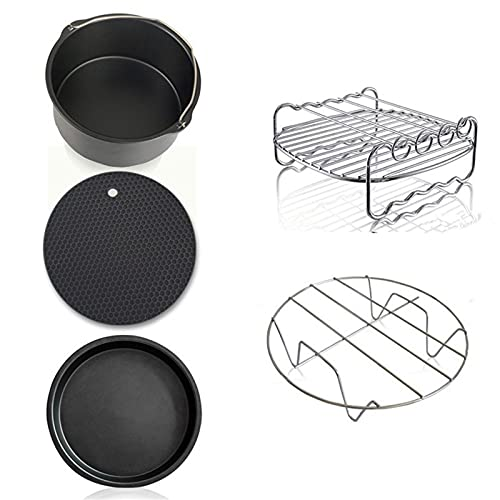 Accesorios para Freidora de Aire Accesorios De Freidora Profunda De Acero Al Carbono 5pcs Conjunto De Herramientas De Cocina De Cocina De Cocina para Cocina Casera (Color : Black, Size : 5 Pcs)