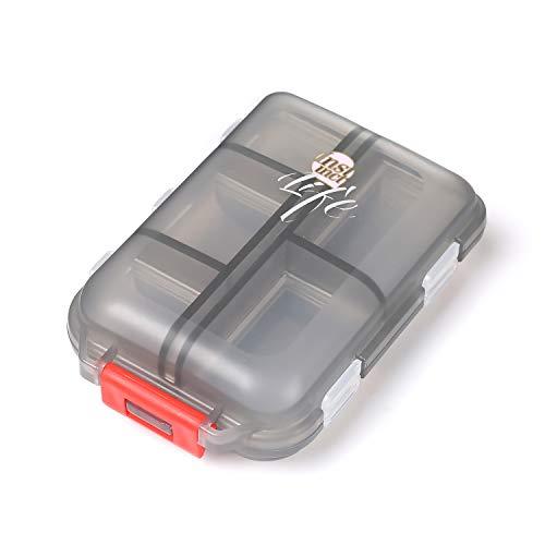 Shuxy Organizador portátil de viajes Recordatorio de medicamentos y recetas Pastillero Dispensador Envase de los tornillos de la joyería, 10 compartimentos, Negro translúcido