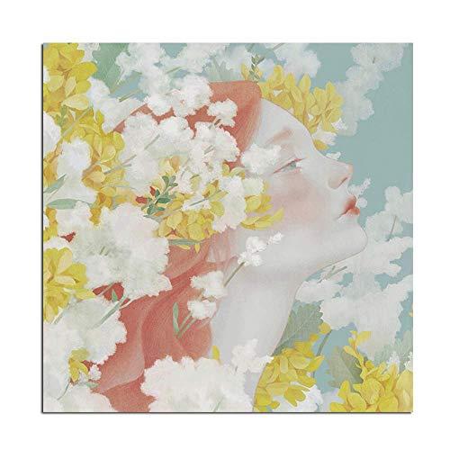 SDFSD Nordic Kids Dekoration Blumenmädchen Porträt Ölgemälde Leinwanddrucke Poster Wandbild für Wohnzimmer Modern Big 60 * 60cm