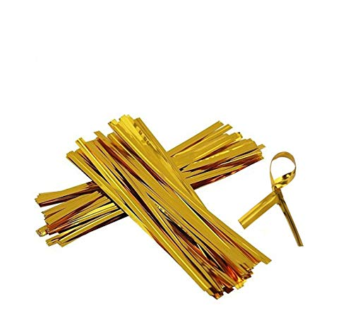 """Price comparison product image IFfree 1600PCS Gold Foil Metallic 3.2"""" Twist Ties Holiday Crafts Gifts, Gold Metallic Cut to Length Twist Ties for Flat Cello Bag Bakery Candy Lollipop Bread Pouch."""
