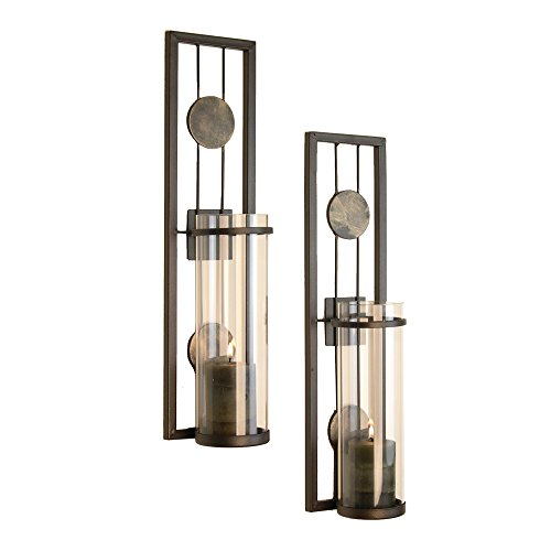 Danya B Set of Two Wall Sconces, Metal Wall Décor, Antique-Style Metal Sconce for Private and Office Use – Decorative Metal Wall Scone, Candle Holder