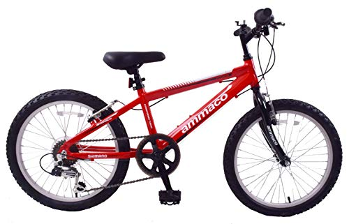 Ammaco. Python 20' Wheel Boys Junior Kids Mountain Bike Lightweight 11' Alloy Frame 6 Speed Red/Black 7 Years +