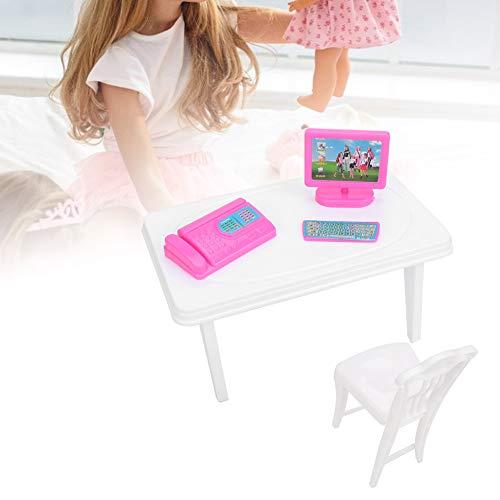 Simulatie Poppenhuisset, Minitoetsenbord Faxapparaat Bureaustoel voor Poppenhuis Kinderen Meisje Speelgoed Cadeauset Keuken - Badkamer Slaapkamer Kinderkamer