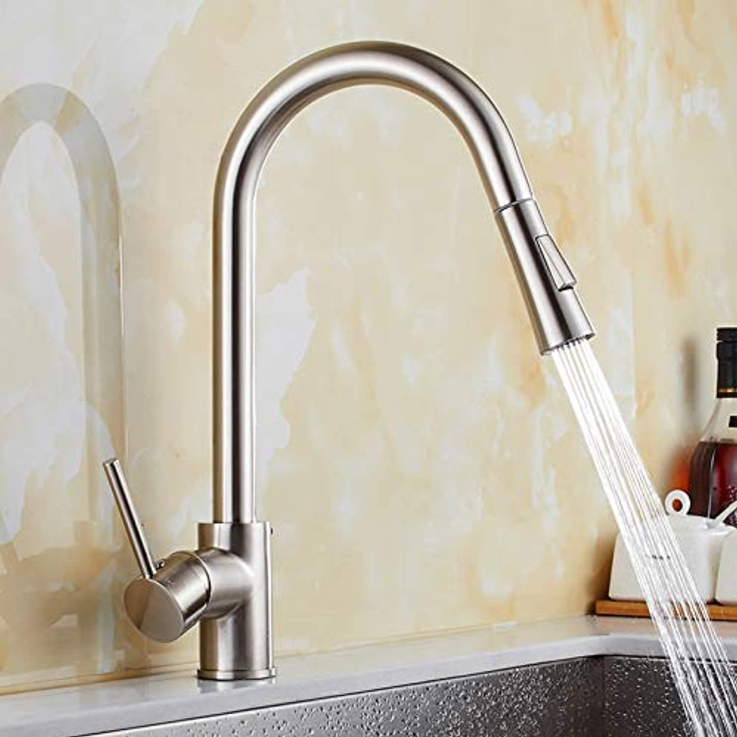 Decorry Senducs Pull Down Kitchen Sink Faucet with Brushed Kitchen Sink Mixer Tap for Fashion Hot Cold Kitchen Faucet Brass Water Taps,Brushed