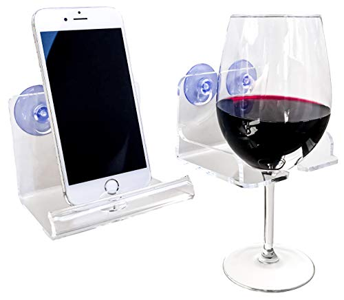 Atlas Hold Acrylic Beer Holder Bathtub Wine Glass Holder Suction Phone Holder  Bathroom Wine Caddy  Wine Accessories and Bath Accessories Set of 2 Transparent