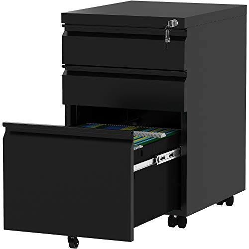 YITAHOME 3-Drawer Mobile File Cabinet with Lock, Office Storage Filing Cabinet for Legal/Letter Size, Pre-Assembled Metal File Cabinet Except Wheels Under Desk -Black