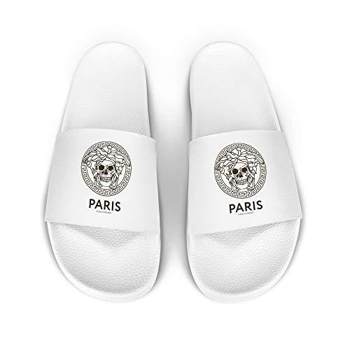 licaso iD Lette Badelatsche mit Paris - Made in France Print I rutschfeste Sohle in Weiss I Gr. 38 Schuhe I Badeschlappen Bedruckt Unisex I Männer Hausschuhe Frauen Sandalen I 1 Paar Badeschuhe