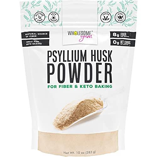 Wholesome Yum Psyllium Husk Powder for Baking (10 oz) - Soluble Fiber Powder - Keto Friendly, Non GMO, Gluten Free, Finely Ground