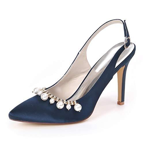 QXue Hochzeitsschuhe aus Satin mit Strasssteinen, Slingback-Schuhe für Abschlussball, Brautjungfer, Nachtclub, High Heels, dunkelblau, 45 EU