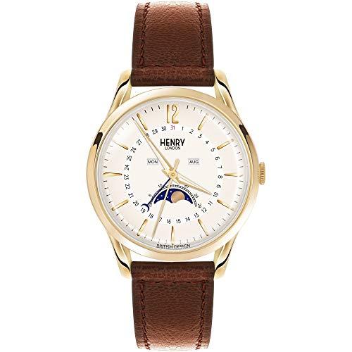 Henry London Unisex Erwachsene Analog Quarz Uhr mit Leder Armband 5018479079866